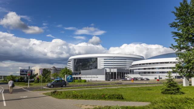 motion timelapse (hyperlapse) of the minsk city ice hockey arena. belarus. may, 2017 - belarus stock videos & royalty-free footage