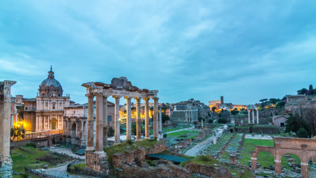 Motion timelapse (hyperlapse) of the Roman Forum at sunrise. Rome, Italy. April, 2016.