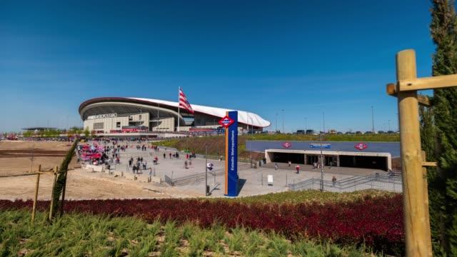 Motion Time-lapse of Wanda Metropolitano Stadium before a match