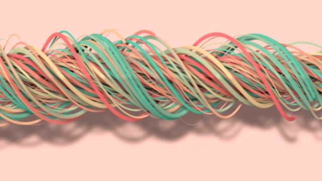 3D motion,3D rendering, abstract geometric background, lines The circle points are very close together. Until seeing a free curve Many lines that rotate together into a rope. Light pink tone