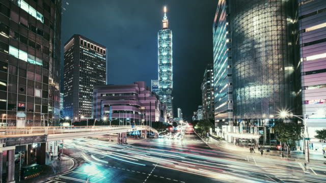 motionlapse of cityscape at taipei, taiwan - taipei 101 stock videos & royalty-free footage