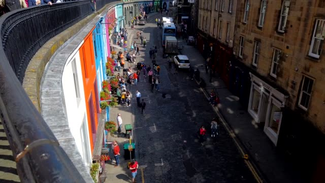 motion-lapse : tourist at old town edinburgh scotland uk - royal mile stock videos and b-roll footage