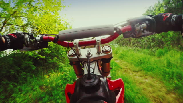 Motocross motorbike riding point of view
