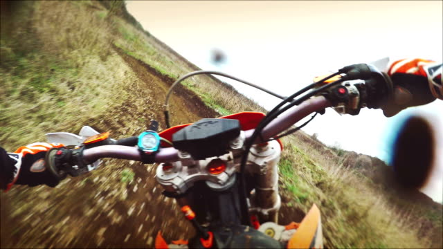 Motocross motorbike riding with action cam