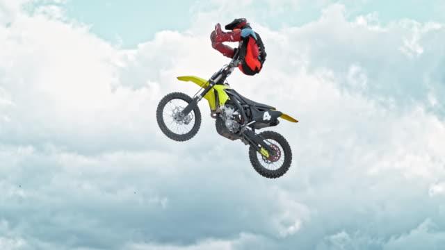 speed ramp motocross rider performing a jump trick - motocross stock videos & royalty-free footage