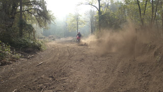 ms motocross rider sliding, riding on dirt course - viewpoint stock videos & royalty-free footage