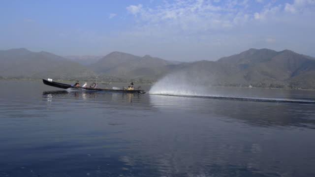 motor boat exploring inle lake, myanmar - floating on water stock videos & royalty-free footage