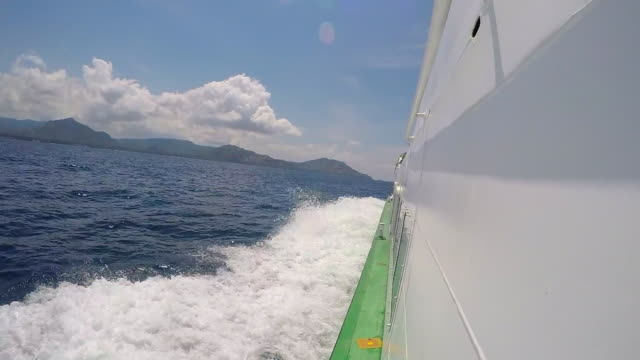 A motor boat sailing on the blue sea. - Slow Motion