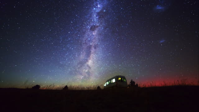 motor home and milky way at southern hemisphere sky - new zealand stock videos & royalty-free footage