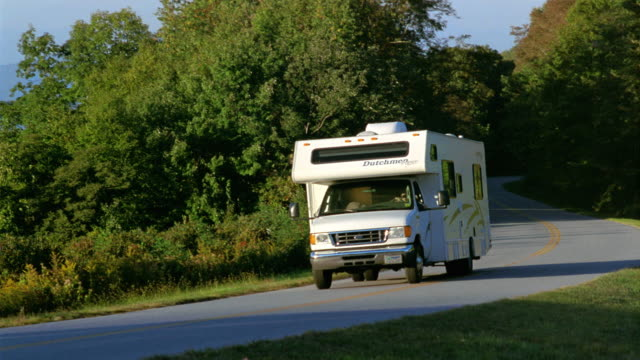 ws ts motor home driving part mountainous landscape / asheville, north carolina, usa - camper van stock videos and b-roll footage