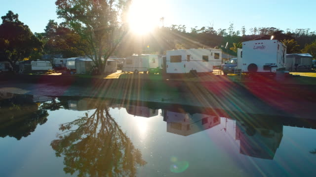 motor home park. - camping stock-videos und b-roll-filmmaterial