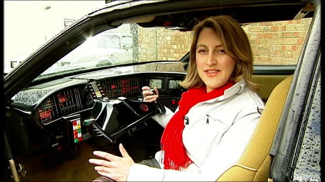 general motors halts production of pontiac ext original 'kitt' car from tv show 'knight rider' reporter to camera inside car - pontiac stock videos and b-roll footage
