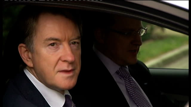 stockvideo's en b-roll-footage met lord mandelson tours ford factory in dagenham england essex dagenham ext lord mandelson driving ford focus bev car / close up of mandelson smiling as... - peter mandelson