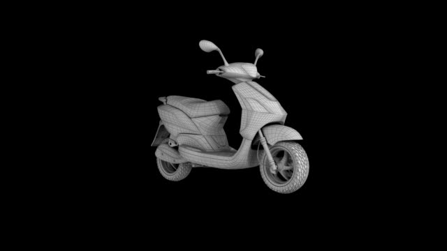 motor scooter wire frame rotating loop isolated with luma matte - wire frame model stock videos & royalty-free footage