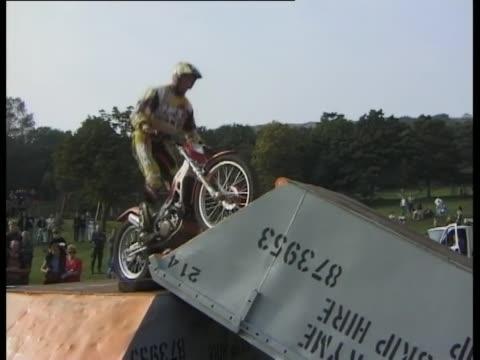 motorbike stunt show 1998 - lancashire stock videos and b-roll footage