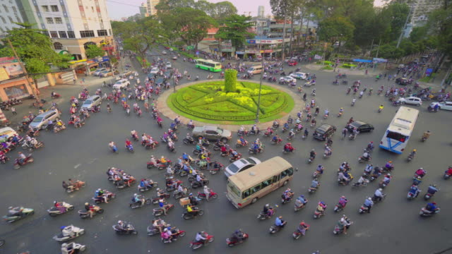 Motorbike Traffic Moving Around Roundabout with Zoom Into Detail, Ho Chi Minh City, Vietnam