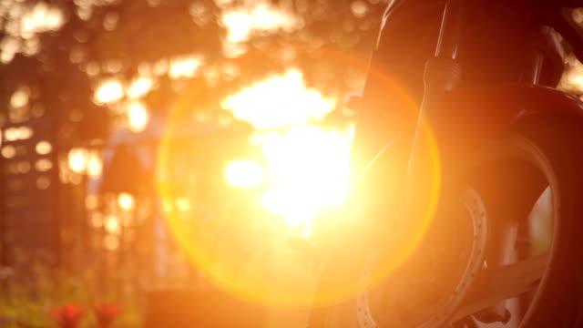 Motorbike wheel, brake and Tire in the Sunset Light