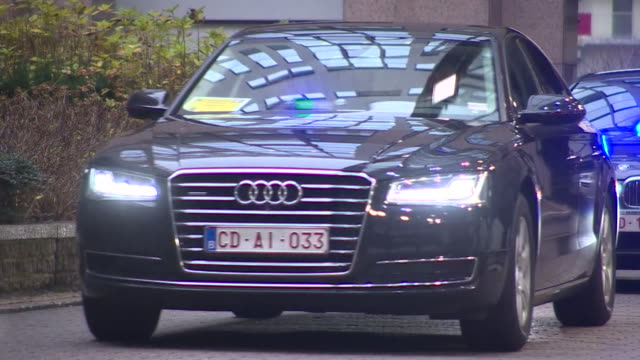 A motorcade leaving the European Parliament building in Brussels
