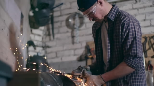 Motorcycle builder using an angle grinder