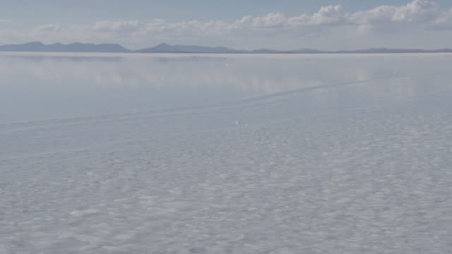 motorcycle driving through water on salar de uyuni (uyuni salt flat) / potosi, bolivia - salt flat stock videos & royalty-free footage
