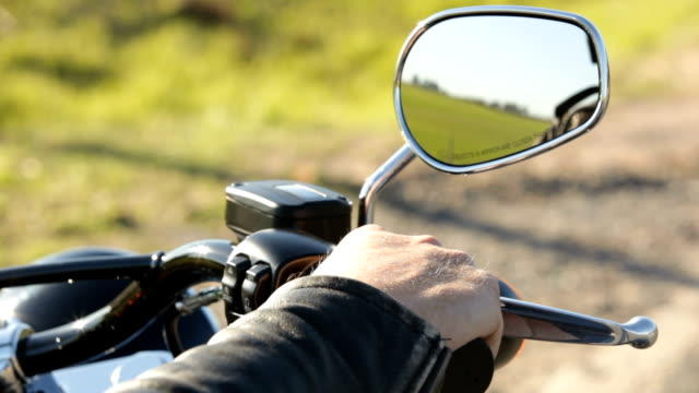 cu motorcycle mirror and throttle / south africa - wing mirror stock videos & royalty-free footage