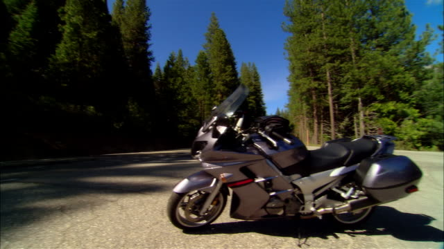 WS PAN BMW K1200 motorcycle parked on empty road in Sierra National Forest / Fresno County, California, USA