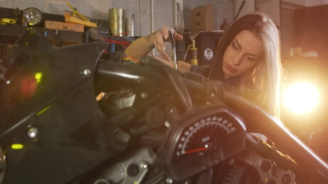 motorcycle repair shop - motorcycle biker stock videos & royalty-free footage