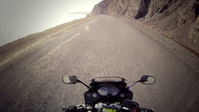 Motorcycle ride on a empty road