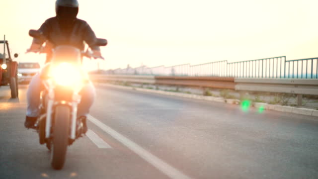 motorcycle road trip - casco da motociclista video stock e b–roll