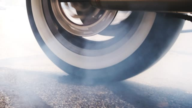 motorcycle tire burn-out - motorbike stock videos & royalty-free footage