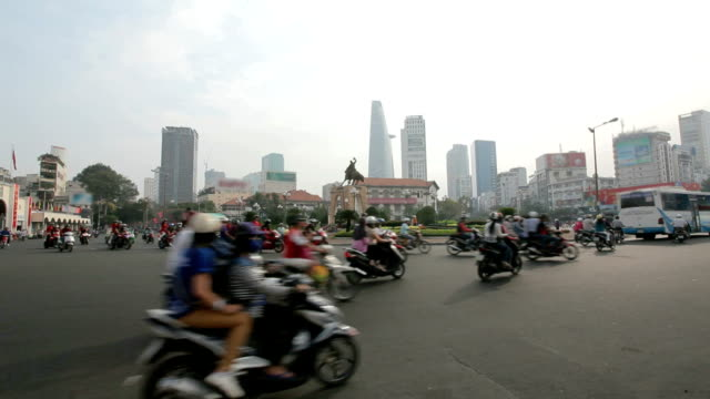 motorcycle traffic on the street - vietnam stock videos & royalty-free footage