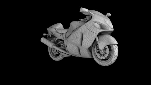 motorcycle wire frame rotating loop isolated with luma matte - turning stock videos & royalty-free footage