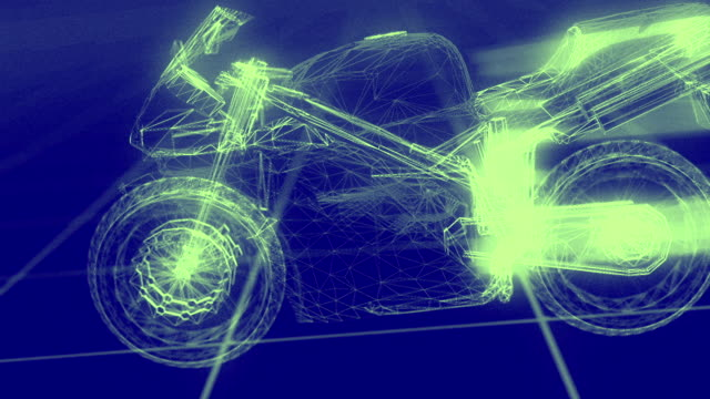 3d motorcycle wireframe blueprint hd ii - motorcycle racing stock videos and b-roll footage