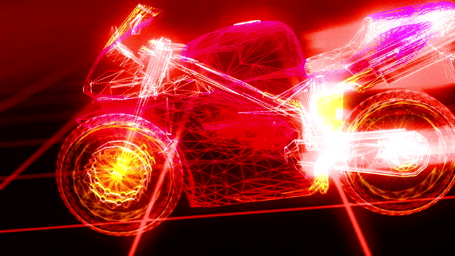 3d motorcycle wireframe blueprint hd iii - motorcycle racing stock videos and b-roll footage