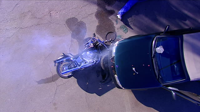 Motorcycle Wreck from above shot