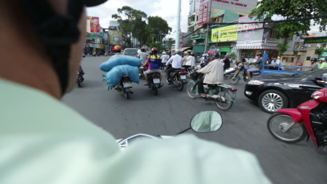 ws ts pov motorcycles and traffic from motorobike's pov - moped stock videos and b-roll footage