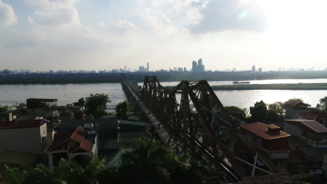 motorcycles moving on long bien bridge / hanoi, vietnam - cantilever stock videos & royalty-free footage