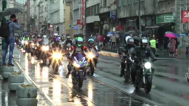 Motorcyclists in a convoy of 500 make their way to Potocari to attend the commemoration ceremony marking the 24th anniversary of Srebrenica Genocide...