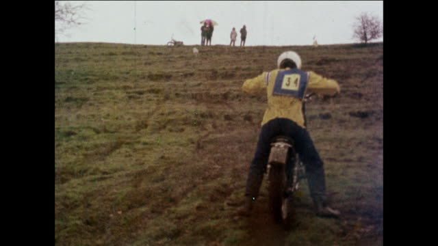MONTAGE Motorcyclists riding uphill and through water / United Kingdom