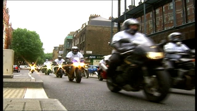 motorcyclists safety protest in london england london grays inn road ext various shots of motorcyclists in 617 killspills campaign setting off in... - inn stock videos & royalty-free footage