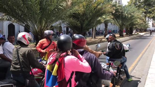 Motorcyclists stage a rally to show their support for Venezuelan President Nicolas Maduro in Caracas Venezuela on February 05 2019