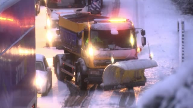 Motorists in Scotland and Northern England warned to stay off roads SCOTLAND Dumfries and Galloway Reporter talking to lorry driver Vox pops lorry...
