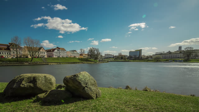 motorized time lapse of the trinity hill in minsk with svisloch river, belarus. - belarus stock videos & royalty-free footage