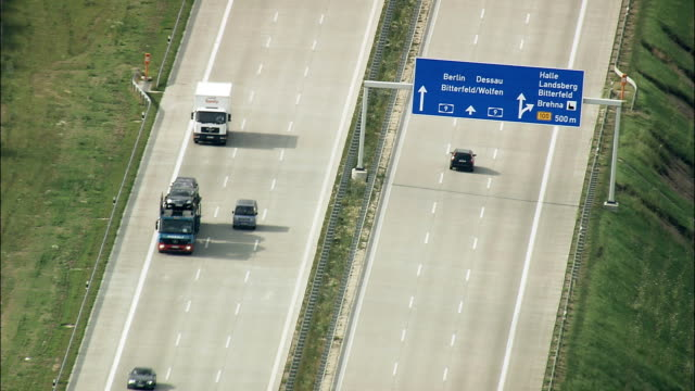 motorway a9 flying north  - aerial view - saxony,  helicopter filming,  aerial video,  cineflex,  establishing shot,  germany - overhead projector stock videos & royalty-free footage