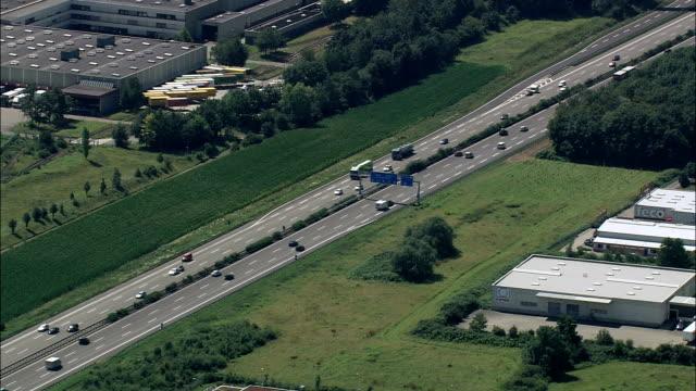 A5 motorway - Aerial View - Baden-Württemberg,  Regierungsbezirk Stuttgart,  Rems-Murr-Kreis helicopter filming,  aerial video,  cineflex,  establishing shot,  Germany