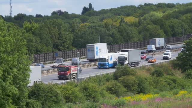 m1 motorway at luton - articulated lorry stock videos & royalty-free footage