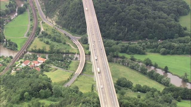 e40 motorway bridge - turingia video stock e b–roll