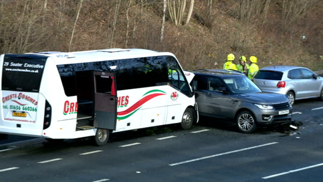 m4 motorway car crash involving five vehicles england m4 motorway ext emergency services at scene of five vehicle motorway crash emergency workers in... - emergency services vehicle stock videos and b-roll footage