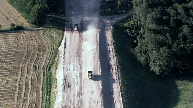 motorway construction  - aerial view - bavaria,  germany - overhead projector stock videos & royalty-free footage