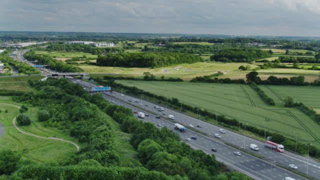m1 motorway in leicestershire - aerial view - motorway stock videos & royalty-free footage